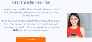 ria money transfer first time offer