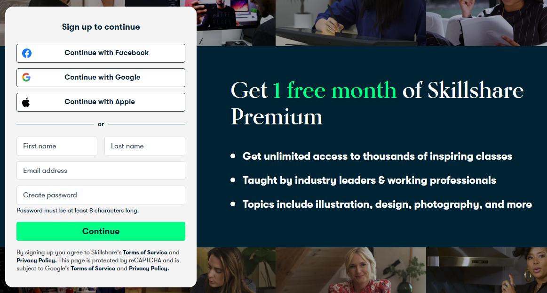 Skillshare 1 month free